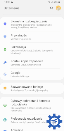 Samsung Galaxy S9+ ustawienia