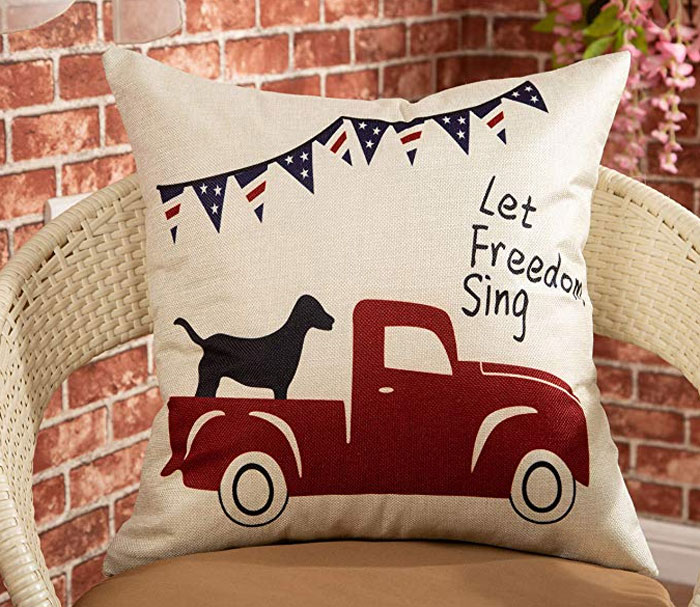 Vintage Patriotic Truck Pillow