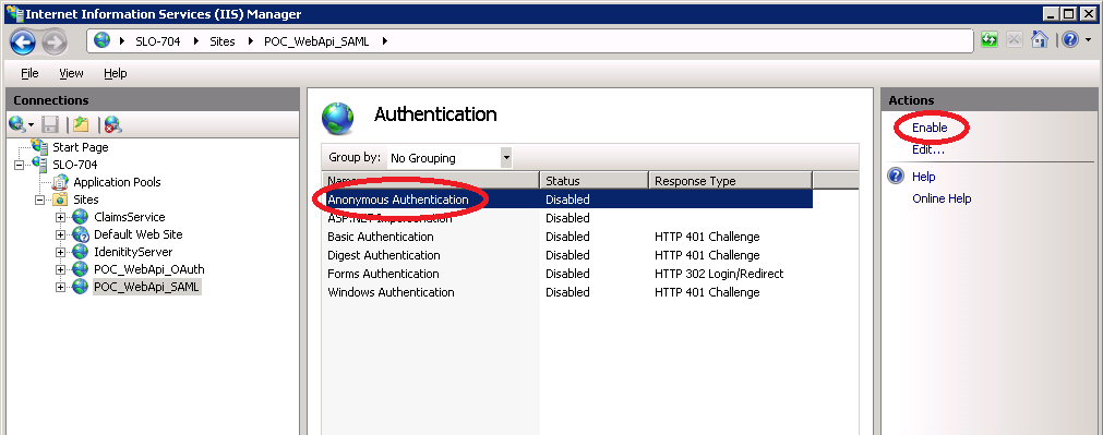 Next, select Anonymous Authentication and click Enable