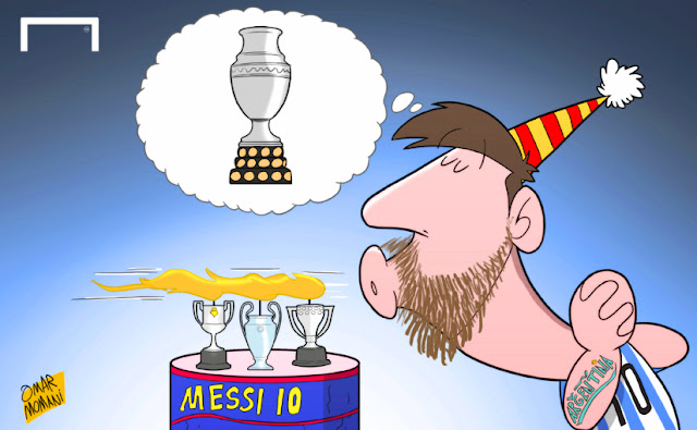 Messi's birthday wish cartoon