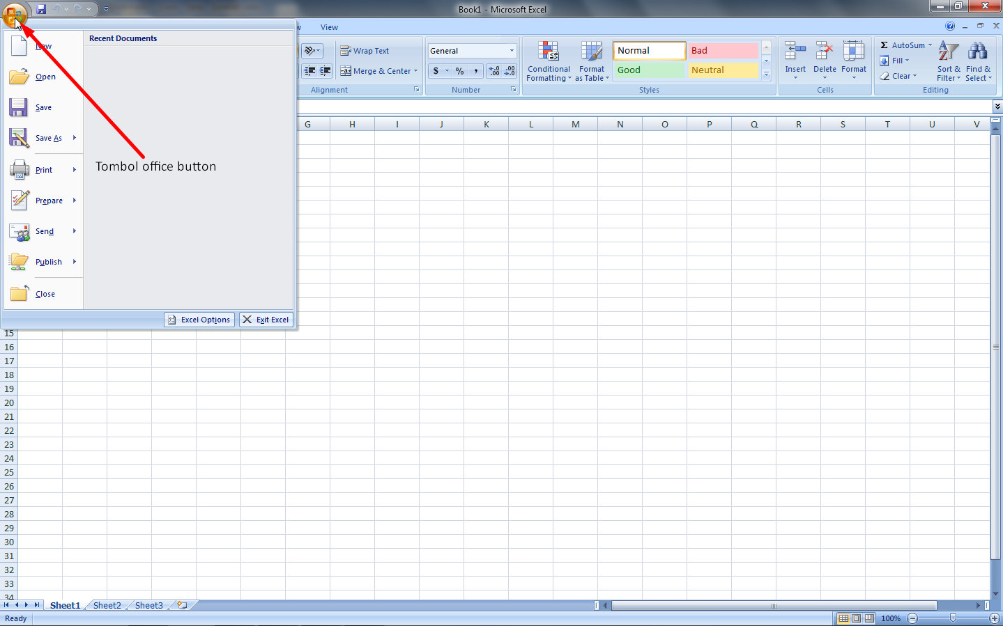 Mengenal Fungsi Office Button pada Microsoft Excel 2007