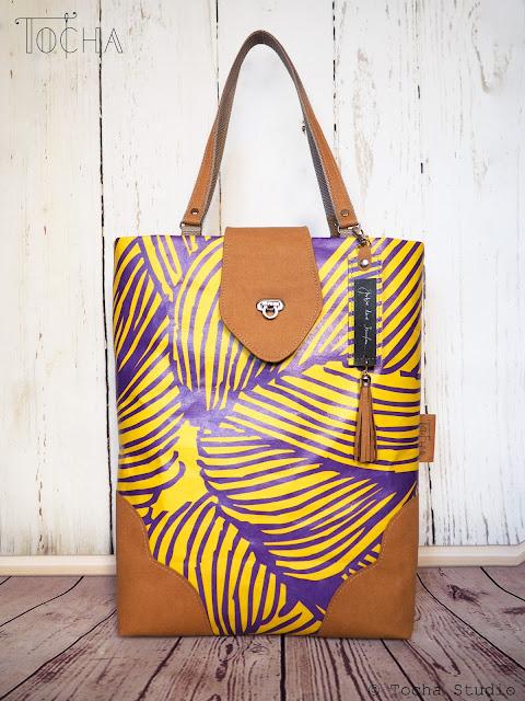 watercolours, Justyna Anna Smółka, Washpapa, vegan leather, custom order, Polish artist, handmade bag, washable paper, kraft-tex, akwarele, UV print, turn lock clasp, flap, tassel,