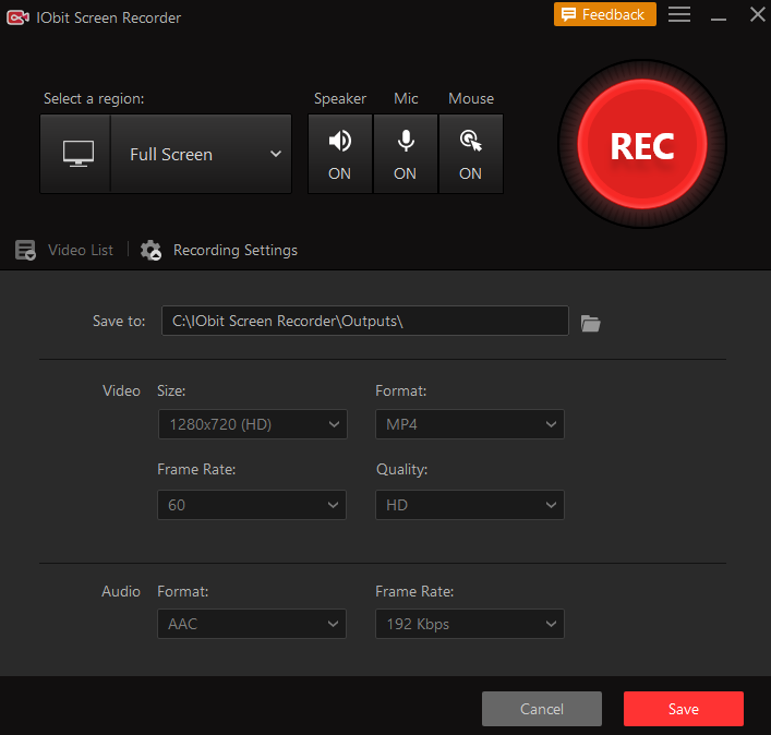IObit Screen Recorder use, Interface and Features