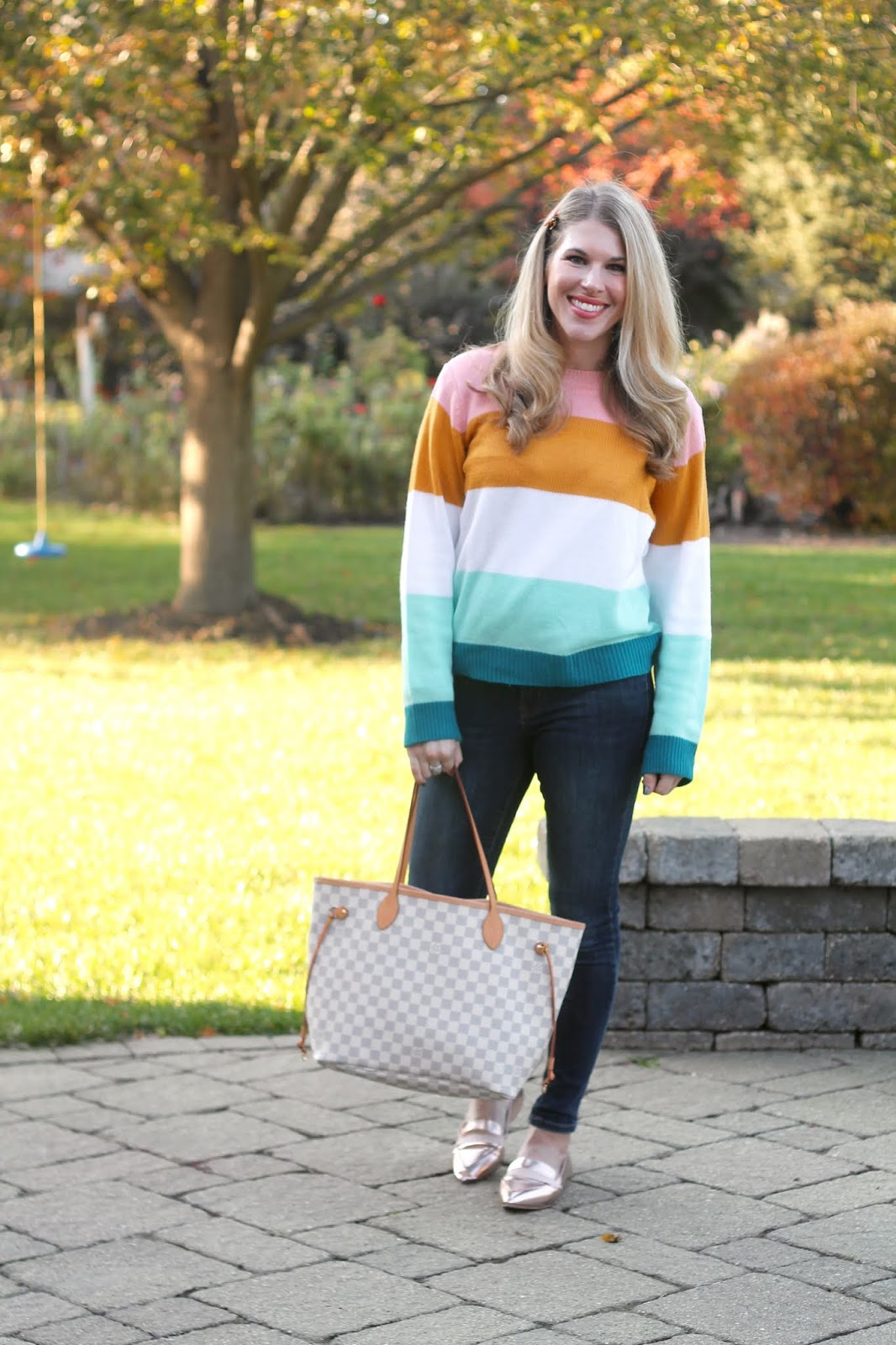 aurate review, old navy rockstar jeans, color block sweater, rose gold loafers, LV azure neverfull