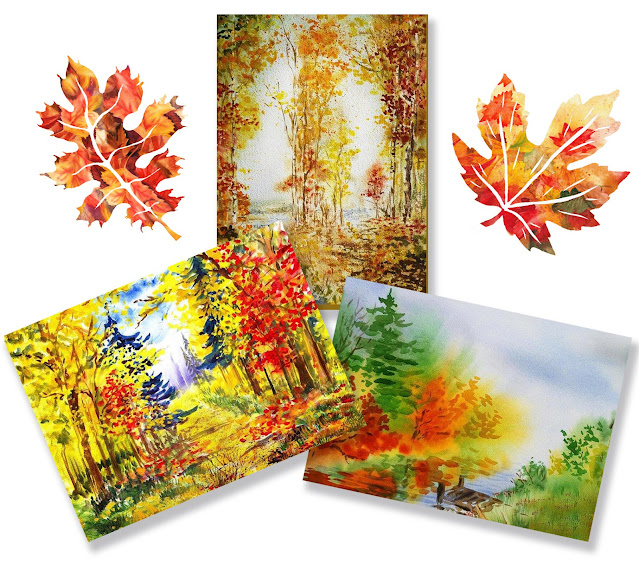 Fall Autumn Watercolor Landscapes by the artist Irina Sztukowski