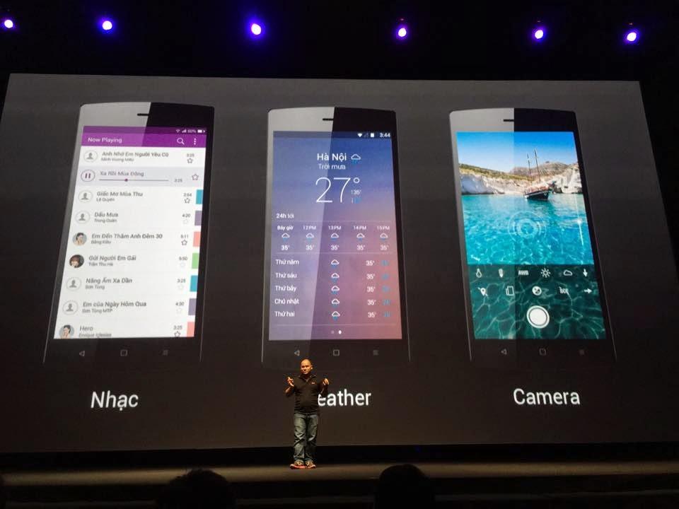 Giao diện các app Nhạc, Weather, Camera