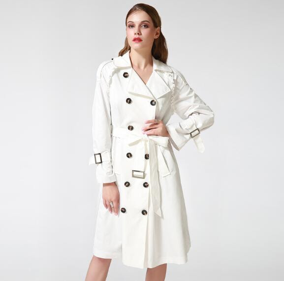 Women's Adjustable Waist Long French Trench Coat
