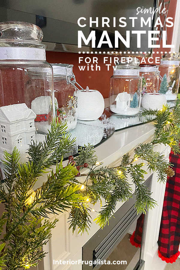 A simple Christmas mantel idea for a fireplace with Tv. This holiday mantel is quick, easy, and cheap to put together with dollar store finds and by shopping your home. #christmasmantelideas #christmasmantelswithtv