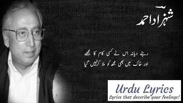Rukhsat Hua To Aankh Mila Kar Nahin Gaya - Shahzad Ahmed - Sad Urdu Poetry