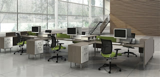open concept office interior with collaborative benching