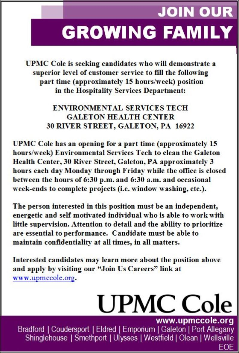 Solomon's words for the wise: UPMC Cole Is Seeking Candidates For