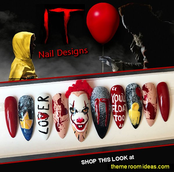 halloween IT nail design scary movie nail art halloween movie nail decorations IT Pennywise nails