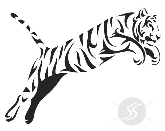 adesivos decorativos animais tigre pulando - 20 Adesivos decorativos de animais para decorar o seu ambiente