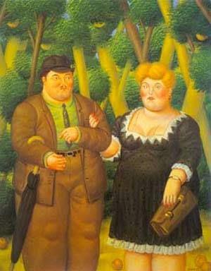 Um Casal - Fernando Botero e suas pinturas ~ O pintor das figuras volumosas