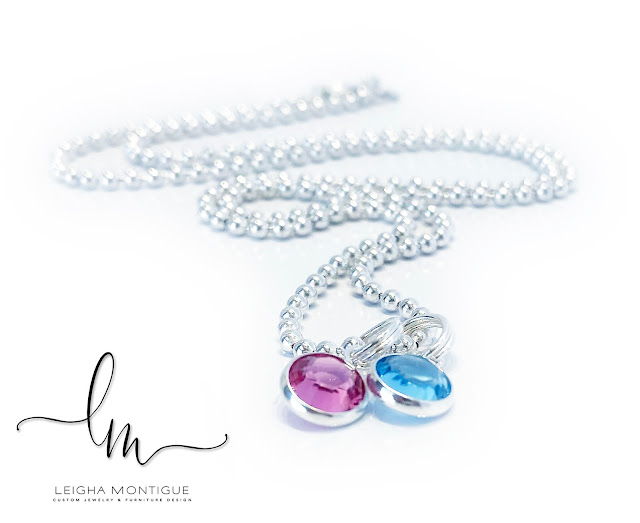 Swarovski Crystal Channel Birthstone Necklace shown with 2 birthstone charms - October (Pink/Opal), March (Aquamarine) shown on a Ball Chain Necklace