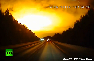 "UFO? Meteor? Blast""; Massive Light Flash Caught on Dashcam – Russia 