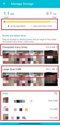 Whatsapp tricks indicating storage chat size