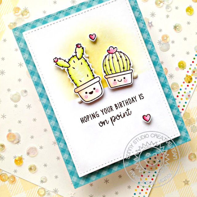 Sunny Studio Stamps: Looking Sharp Stitched Rectangle Dies Alpaca Holiday Balloon Rides Birthday Punny Cards by Franci Vignoli