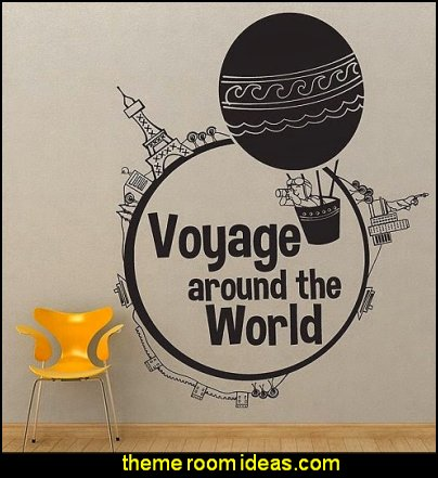 Voyage Around the World Wall Art Decal Sticker travel theme wall decor travel bedroom decor