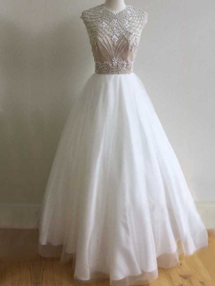 Ball Gown Scoop Neck Tulle Beading Floor-length Open Back Elegant Formal Dresses