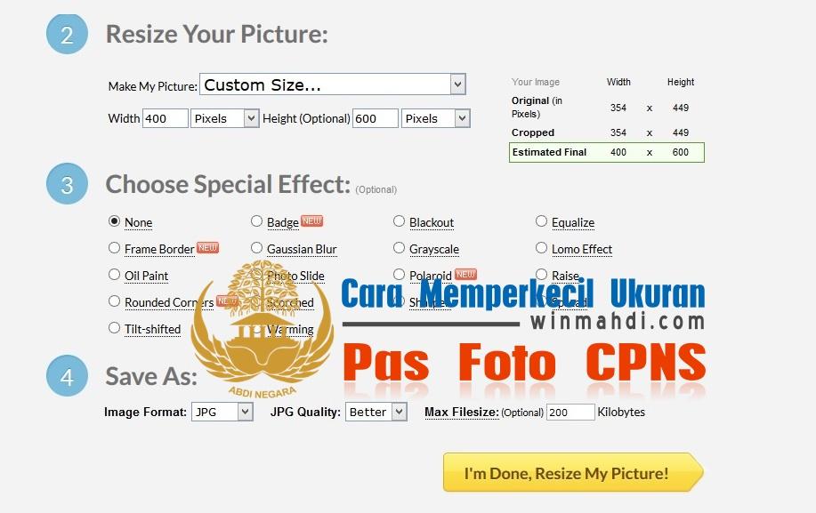 Mengubah ukuran pas foto CPNS