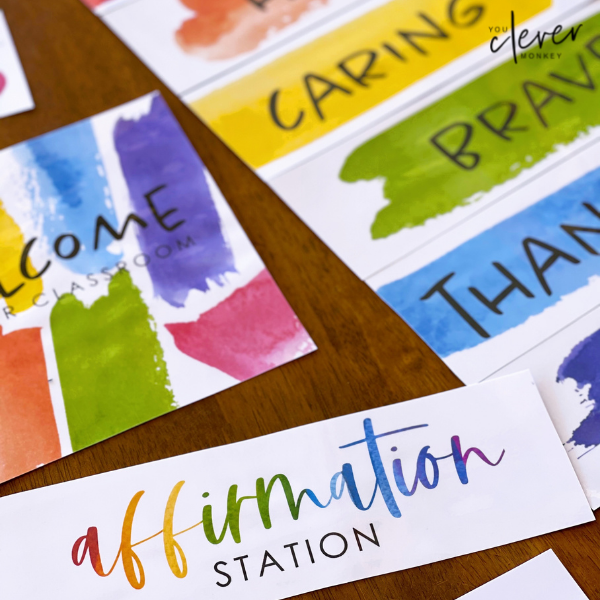WATERCOLOUR PAINT Classroom Door + Bulletin Board and Affirmation Station Pack    you clever monkey