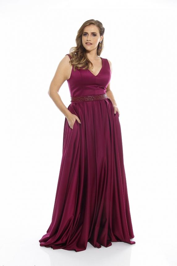 vestido de festa roxo ou uva