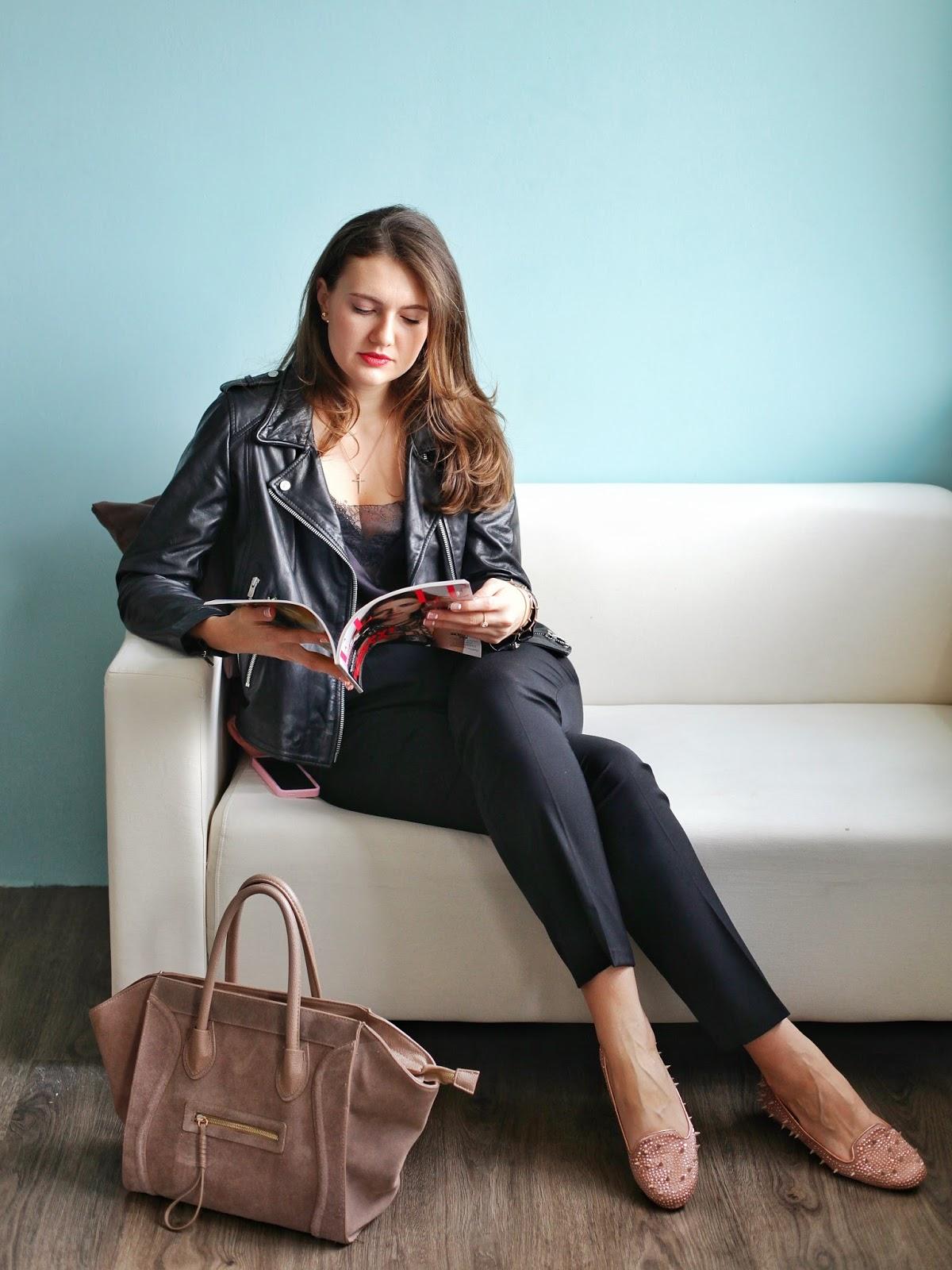 Куртка косуха, с чем носить куртку косуху, как сочетать вещи, базовый гардероб, куртка косуха купить киев, фешн блогер, Эвелина Попова