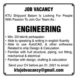 Lowongan Kerja KTU Shipyard Batam
