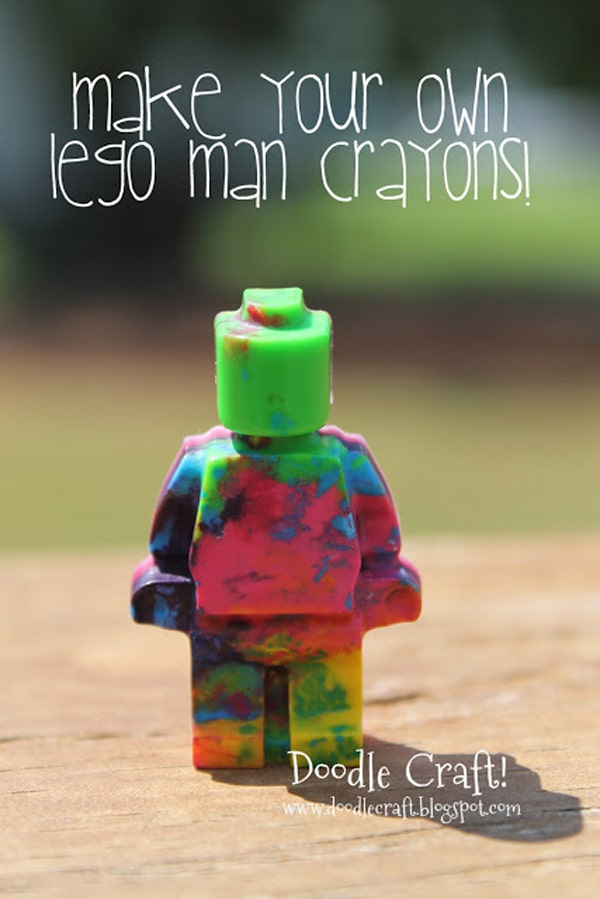 Use a lego mold to make lego man crayons