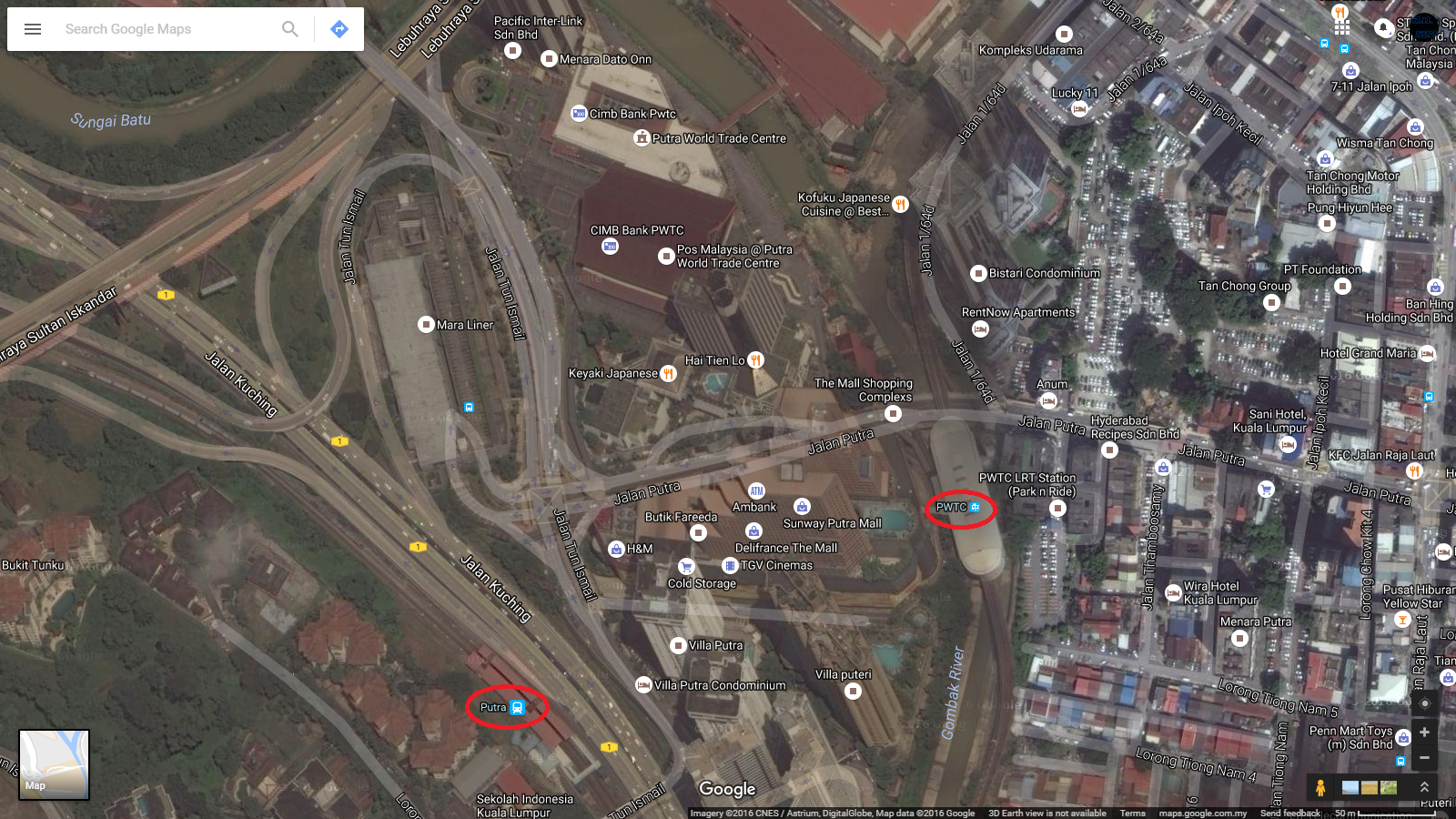 Remainunknown522 comic fiesta 2016 venue tickets announced satellite view of pwtc lrt station putra komuter station marked in red ovals and putra world trade centre gumiabroncs Gallery