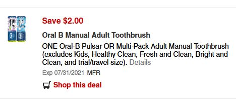 $2.00/1-Oral-B Toothbrush CVS APP ONLY MFR Coupon (go to CVS App)
