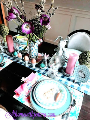 Easter, Spring, Bunny, Tablescape, Blue, White, Tulips, decorating, athomewithjemma.com