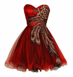 2014 stylish red formal metallic peacock strapless tutu prom homecoming dresses