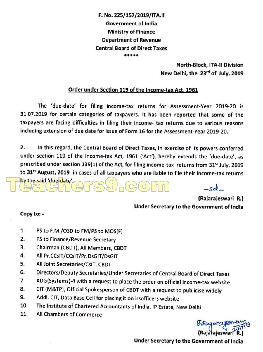 The 'due date' for filing income-tax returns for Assessment-Year 2019-20 extended to 31st August 2019