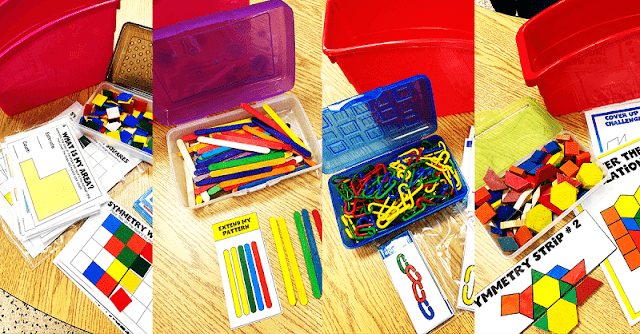 Math fast finisher activities that are grab and go.  Put the manipulatives in a pencil box and add the activities to a bin and your are ready to go.