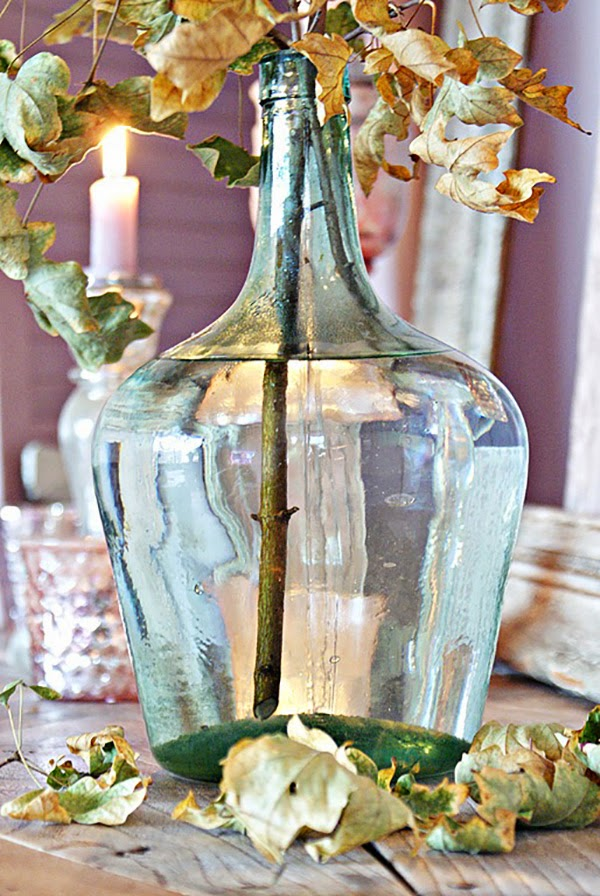 Pink and Lilac Shabby Chic Autumnal Vignette with bottle vase
