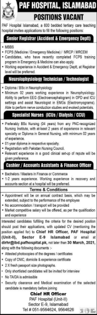 Pakistan Air Force PAF Hospital Islamabad Jobs 2021
