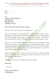 sample warning letter for not achieving sales target