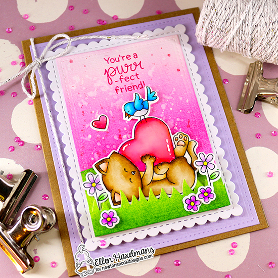 Kitty Love Card by Ellen Haxelmans | Newton's Valentine Stamp Set Stamp Set, Land Borders Die Set Framework Die Set by Newton's Nook Designs #newtonsnook #handmade