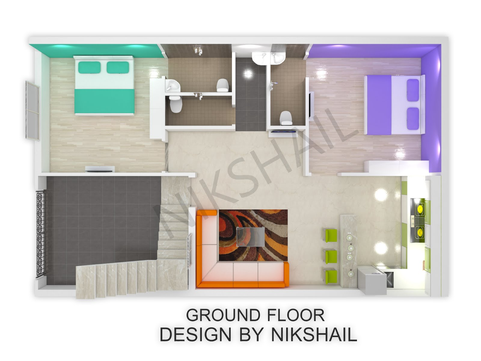 25X40 House plan with 3d elevation by nikshail