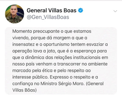 Tuíte do general Villas Boas, ex-comandante do Exército