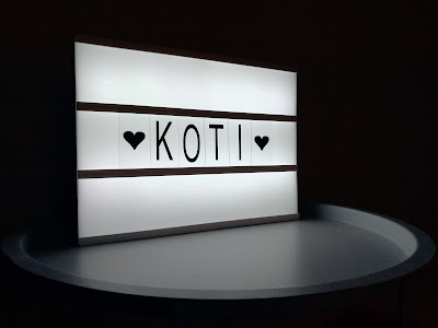 Saippuakuplia olohuoneessa- blogi. Diy Light Box Sign, Koti