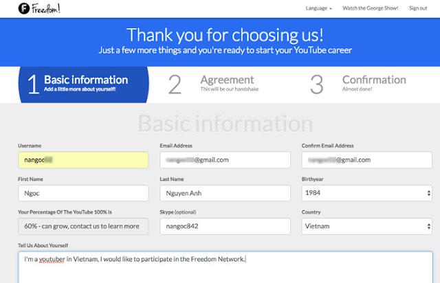 Đăng ký network youtube freedom