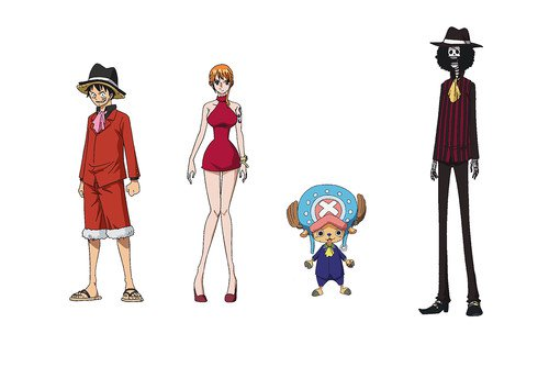 nuevos trajes para Luffy, Nami, Chopper, Brook, Carrot, Pedro y Sanji.