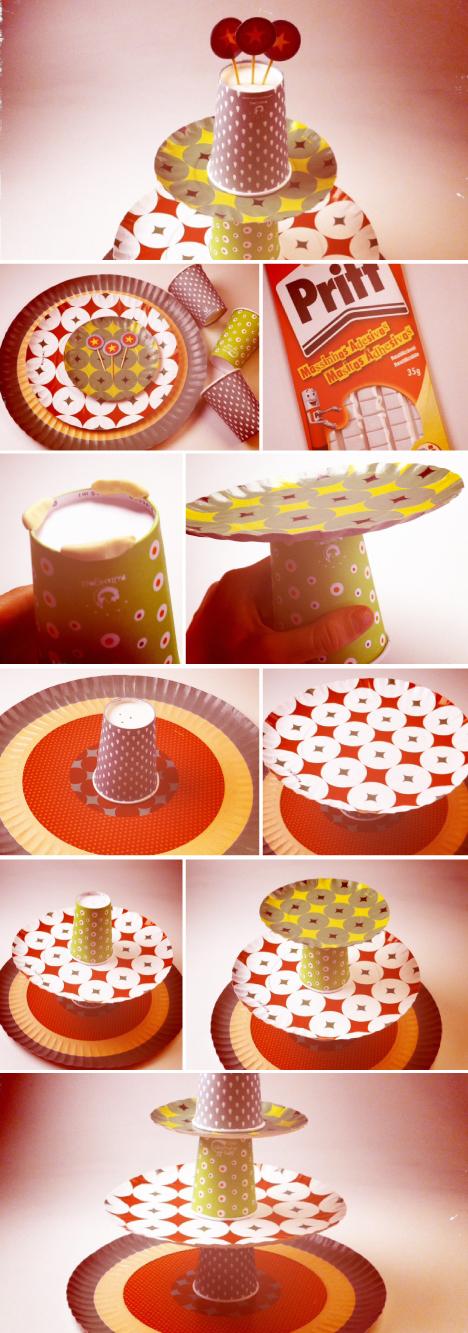 con platos y vasos de cartón