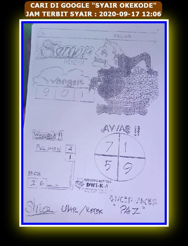 Kode syair Hongkong Kamis 17 September 2020 97