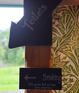 DIY wedding chalkboards - toilet smoking signs