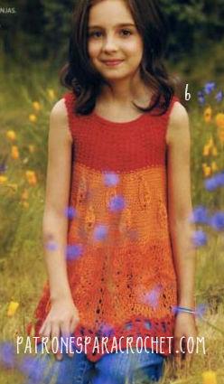 Vestido sin mangas en tres colores crochet