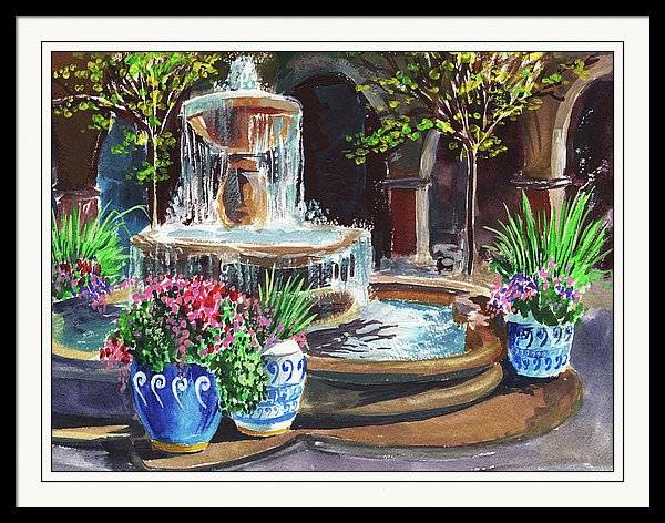 Courtyard With Fountain painting by the artist Irina Sztukowski